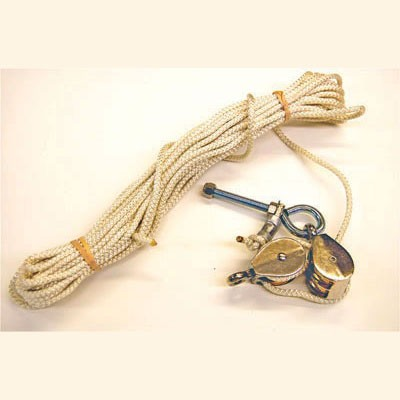 55-foot Rope shown with pulleys and stainless eyebolt with hardware.